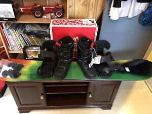Selling snowboard, boots, and goggles