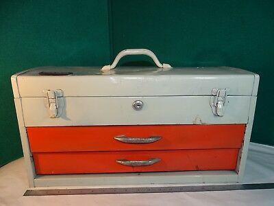 Vintage PARK Mechanic's Tool Box Toolbox Tool Chest Metal 2 Drawer w/ Tray 20""
