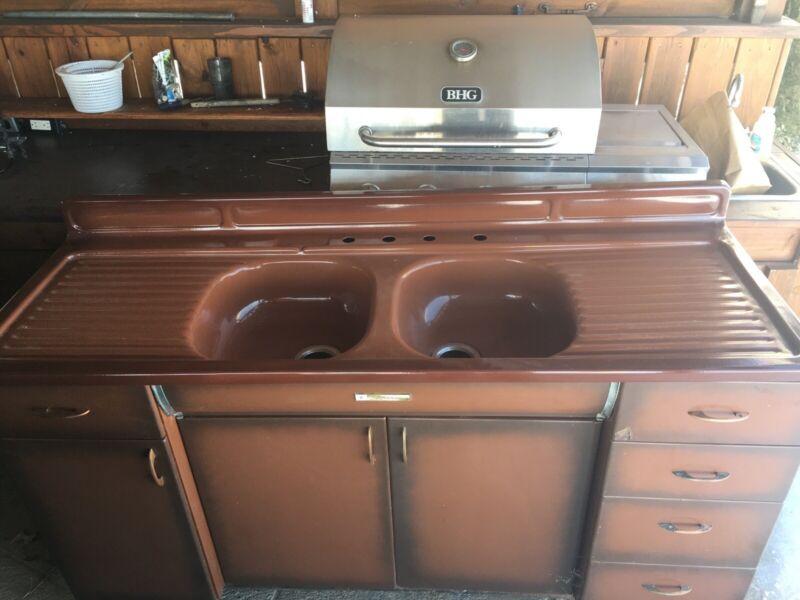 Vintage Porcelain Double Sink Double Drainboard