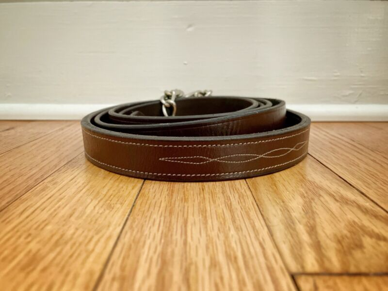Fancy Stitched Leather Lead Line With Chain