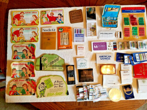 LOT OF 40+ VINTAGE SEWING KITS - NEEDLE SETS Hotels Advertising