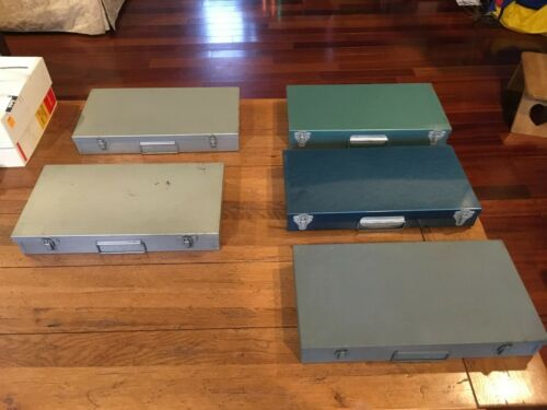 5 Vintage 35-mm Slide Metal Box Tray File Case Holder Storage