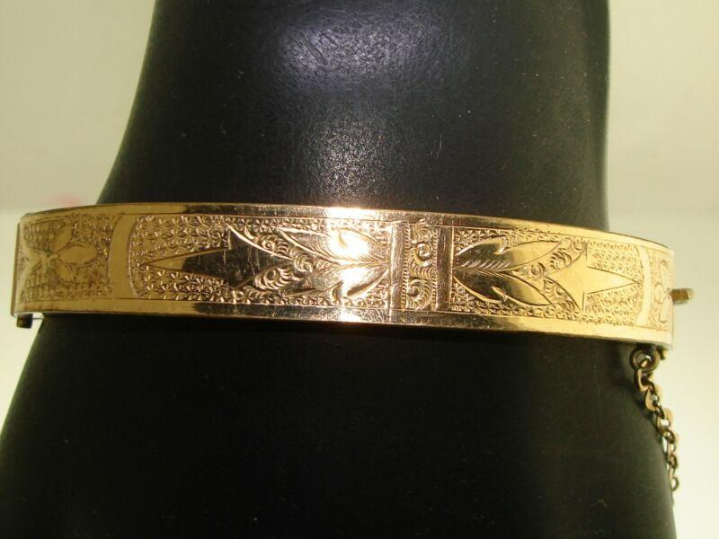 BEAUTIFUL VICTORIAN DTD. 1880 ROSE GOLD FILLED ORNATE HINGED BANGLE BRACELET!
