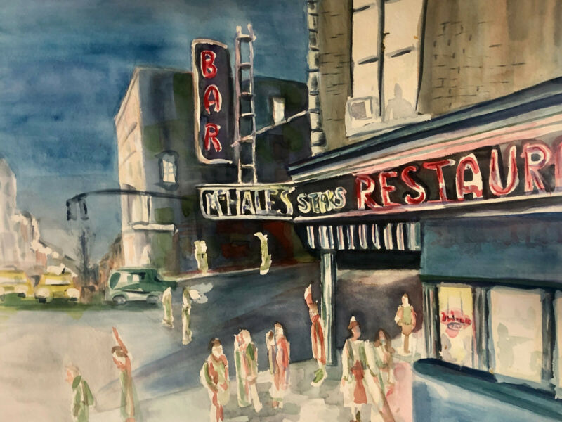 Original Art Joe Correll Watercolor Sold by the Artist 18 x 24 New York McHales