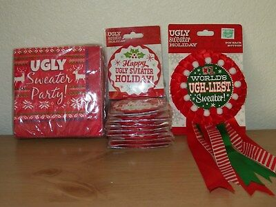 UGLY CHRISTMAS PARTY HOBBY LOBBY PINBACK BUTTONS NAPKINS PINBACK AWARD LOT OF 11](Ugly Sweater Awards)