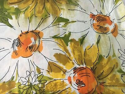 Vintage Twin Fitted Funky Daisy 1970s Bed Sheet Mod Fabric Large Flowers ()