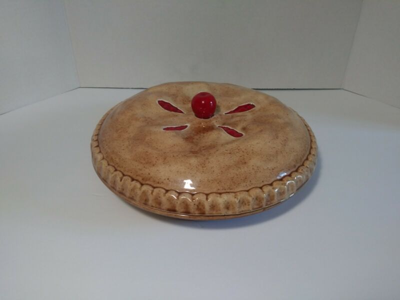 """Vintage Ceramic Cherry Pie Covered Pie Keeper Server Dish Carrier for 9"""" Pies"""