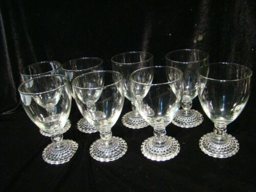 VTG MCM  Set of 8 Water Wine Clear Burple Bubble Footed Anchor Hocking Glasses