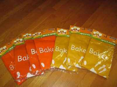 NIP Lot of 7 Cooking Concepts Kid's Apron & Chef Hats Gold Orange Party Favors - Cooking Party Favors