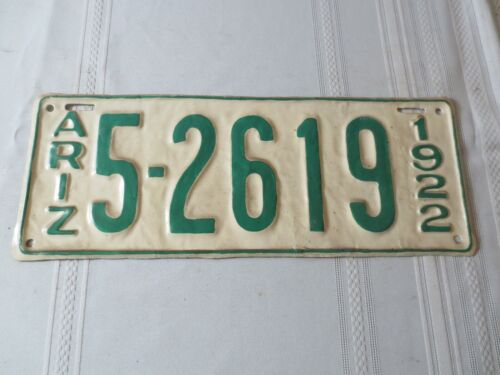 1922 ARIZONA RESTORED LICENSE PLATE 5-2619