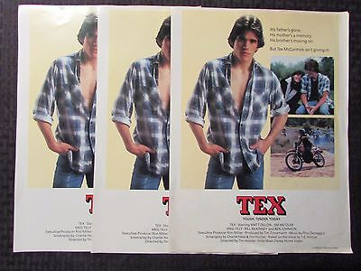 "1983 TEX Movie Poster VG+ 4.5 Matt Dillon & Meg Tilly 10.5x14"" Walt Disney Video"