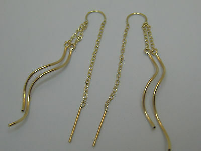 14k Solid Yellow Gold 2 Strand Tube Threader Dangle Earrings Style 910