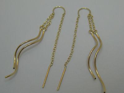 14k Dangle Earrings (14k Solid Yellow Gold 2 Strand Tube Threader Dangle Earrings Style)
