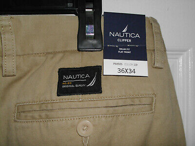 Men's New Tan 36 x 34 Nautica Clipper Relaxed Fit Flat Front Khaki Pants