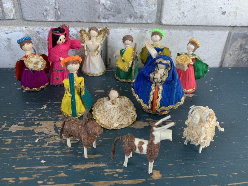 "Corn Husk Dolls Hand Made Lot of Dolls Corn shuck Nativity 3"""