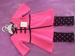 Pink Black Top with pants suit 2T