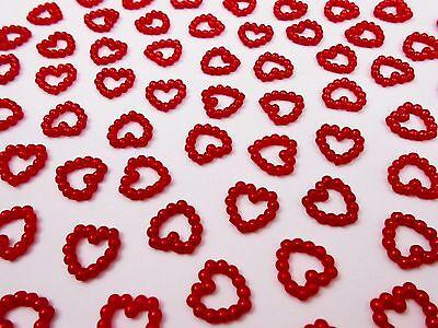 100 Perlenherzen Rot - Beidseitig Glänzend - Scrapbooking Tischdeko Hochzeit