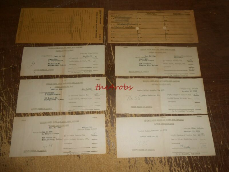 Lot of Chicago South Shore Line Railroad Pay Stubs & Others 1930s