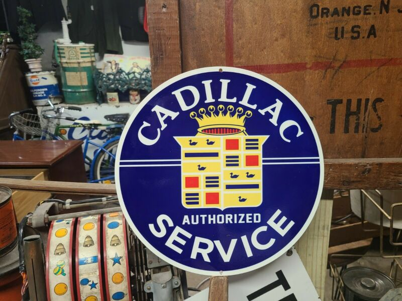 Cadillac Sales & Service Sign Dealer Car truck Gas oil engine