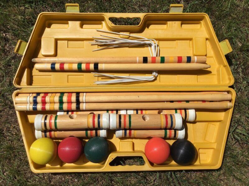 Vintage Spaulding Backyard 5 Player Croquet Set Complete w/ Carrying Case