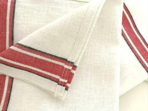 3) Vintage Bright RED Stripe Bleached LINEN Kitchen Dish TOWELS Farmhouse Chic