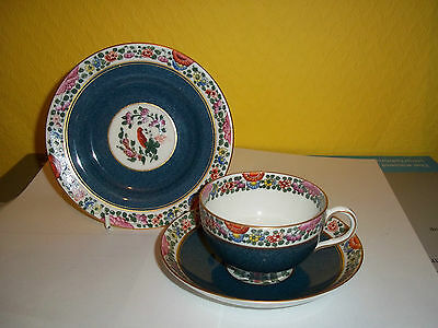 """Rare Royal Worcester trio of cup, saucer, side plate in """"Old Worcester Parrot"""""""
