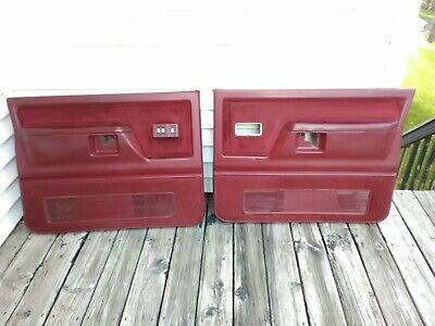 88-93 Dodge Ramcharger or Ram Pickup Truck Left Right red POWER Door Panel SET