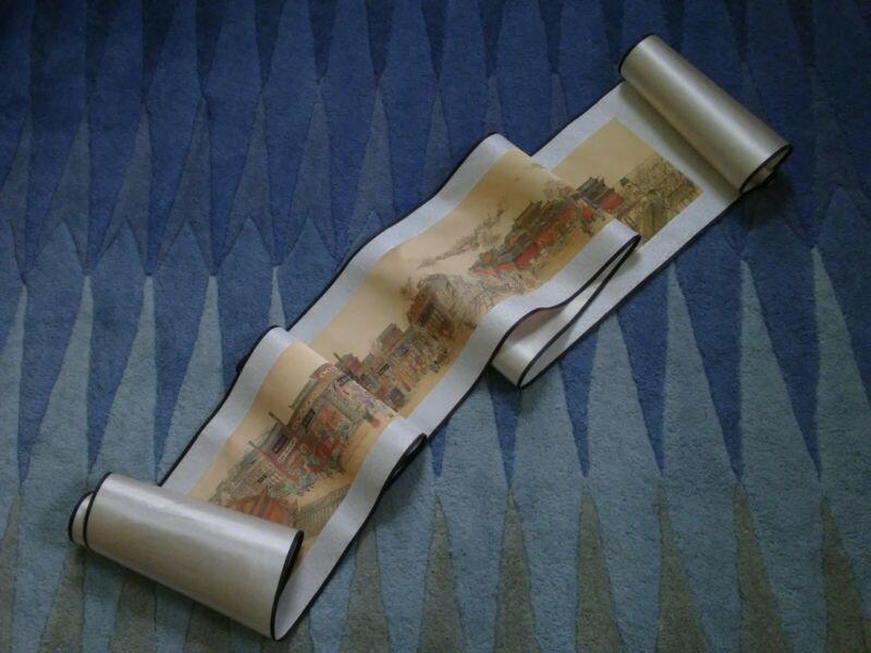 Japanese Scroll Long Silk Street scenes print Signed