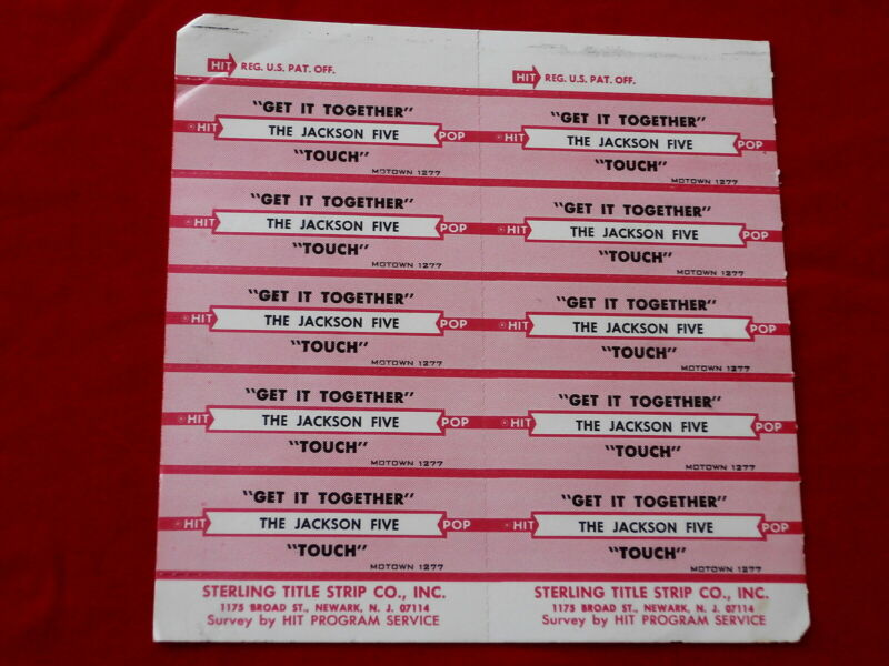 JACKSON FIVE~ TOUCH~GET IT TOGETHER~ MOTOWN~ RARE~ ~ JUKEBOX  TITLE STRIPS