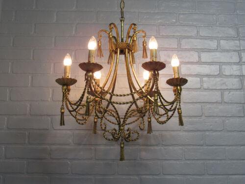 "Vintage Antique Italian Tole Gold Gilt Chandelier 39"" Long 6 Light Restored"
