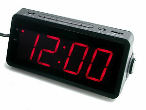 bush jumbo 1 8 led display fm am radio alarm clock dimmer snooze sleep ebay. Black Bedroom Furniture Sets. Home Design Ideas