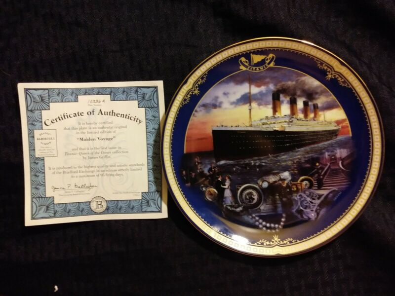 """Antique """"Maiden Voyage"""" Titanic Queen of the Ocean authentic plateware #10226A"""
