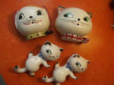Vintage Anthropomorphic Holt Howard Lot String Holders Wall Climbers Cat Dog