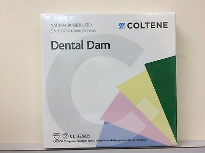 Hygenic Coltene Dental Latex Rubber Dam 5x 5 Medium Green 52box H02142