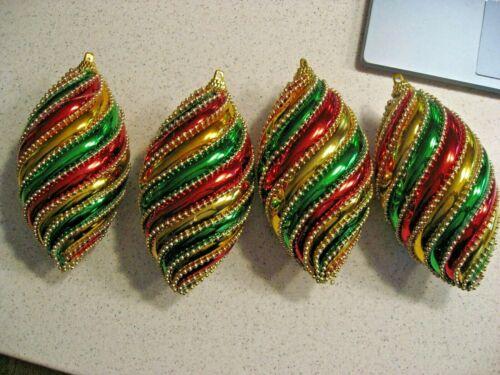 Vintage Lot of 4 Plastic Unbreakable Swirl Multi-colored Christmas Ornaments