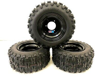 Honda ATC 70 DWT Black Aluminum Front and Rear Wheels Rims Snow Hog Tires 18""