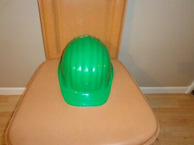 Vintage Green Schuberth Hard Hat 1971 Unworn New Ribbed Plastic West Germany