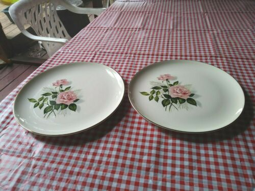"2 VINTAGE TAYLOR SMITH & TAYLOR Versatile ""SUMMER ROSE"" DINNER PLATES 10 1/8"""