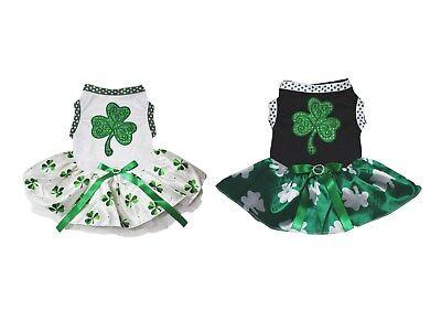 St Patrick's Day Sequins Clover White Cotton Top Clover Tutu Pet Dog Puppy Dress](Dog St Patrick's Day Clothes)