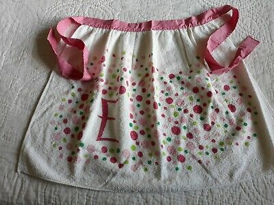 Vintage Aprons, Retro Aprons, Old Fashioned Aprons & Patterns Vtg Cute Supersorb USA Cotton Terrycloth Half Apron Ivory Pink Green Dot