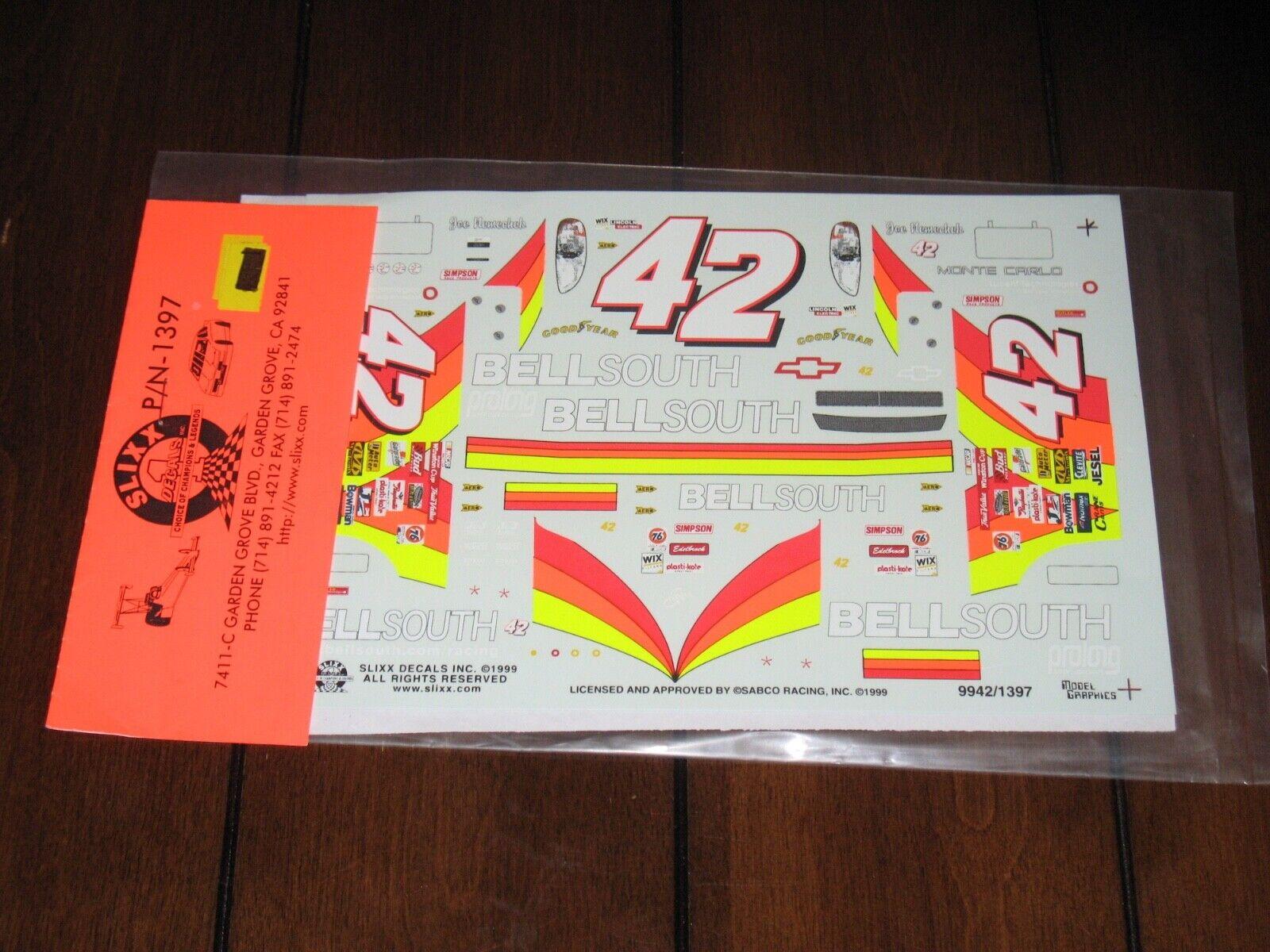 Slixx NASCAR 1397 42 BellSouth Joe Nemechek Chevy Waterslide Decals 1/24