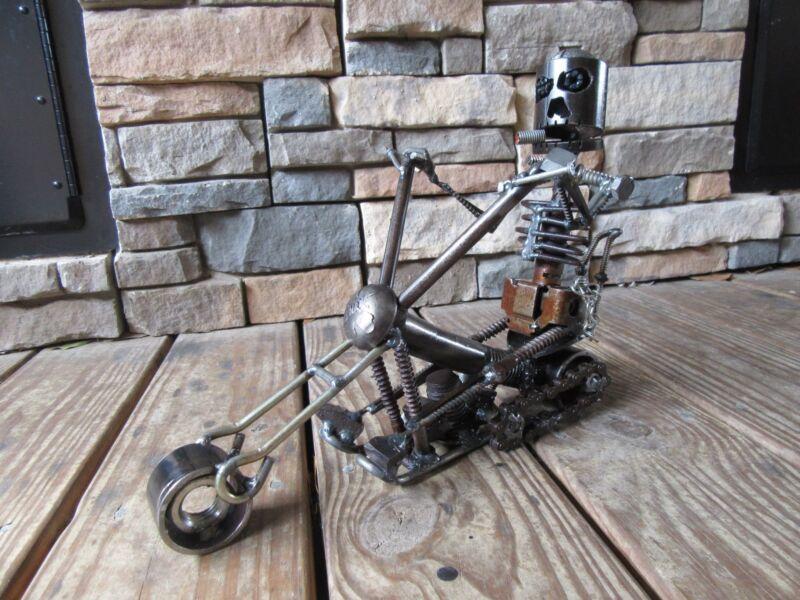 Welded Motorcycle Sculpture-Handmade Metal Art-Welding-Scrap Metal Art