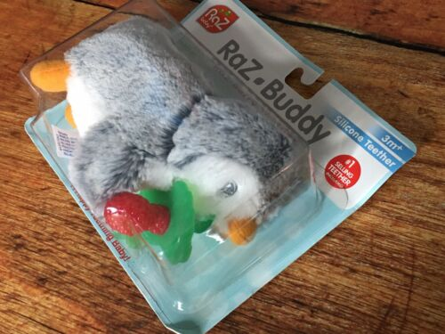 RaZbaby RaZ-Buddy Plush Teether Holder, Ethan Penguin/Grey