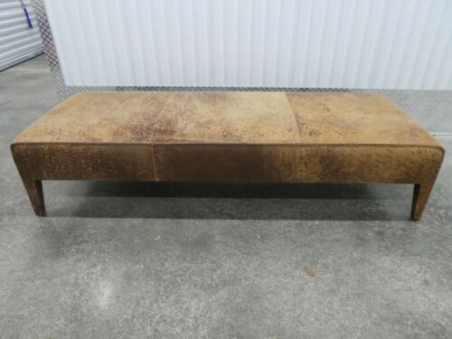VINTAGE BAXTER ITALIAN DISTRESSED LEATHER LONG BENCH