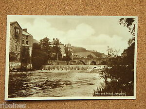 R-L-Postcard-Real-b-w-Photo-Weir-and-Bridge-Llangollen-Wales