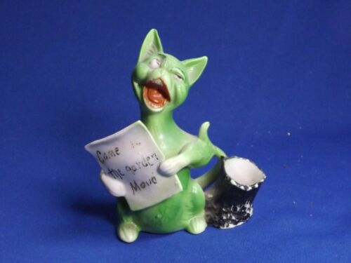 "Antique Shafer & Vater""COME IN TO THE GARDEN MAUD""4 3/8""Singing Green Cat Figure"