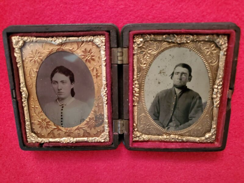 9th Plate Tintype Of Civil War Soldier And Wife In A Nice Thermoplastic Case
