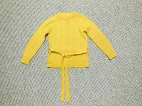 Vtg 70s Sears Girls Sweater Yellow Belted