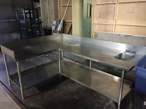 Stainless steel prep counter with bar sink