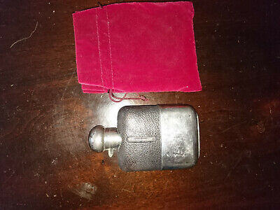 Vintage Silver Plate & Leather / Hyde Hip Flask with Removable Cup Base Flip Lid